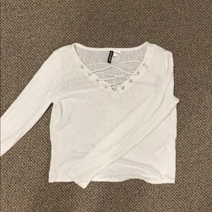 H&M white blouse, laced up front